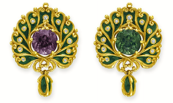 A Brooch of Enamel, Cushion-Cut Alexandrite, Old Diamonds and Rose Gold, circa 1900s, by Marcus & Co.