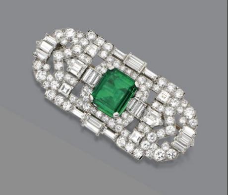 Art Deco Emerald and Diamond Brooch, J.E Caldwell, Signed J.E.C&Co., circa 1925.