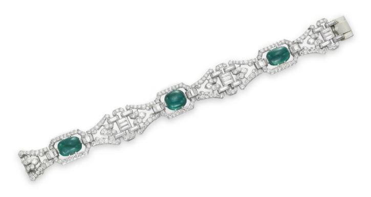 An Art Deco Diamond and Emerald Bracelet by J.E. Caldwell & Co., circa 1930.