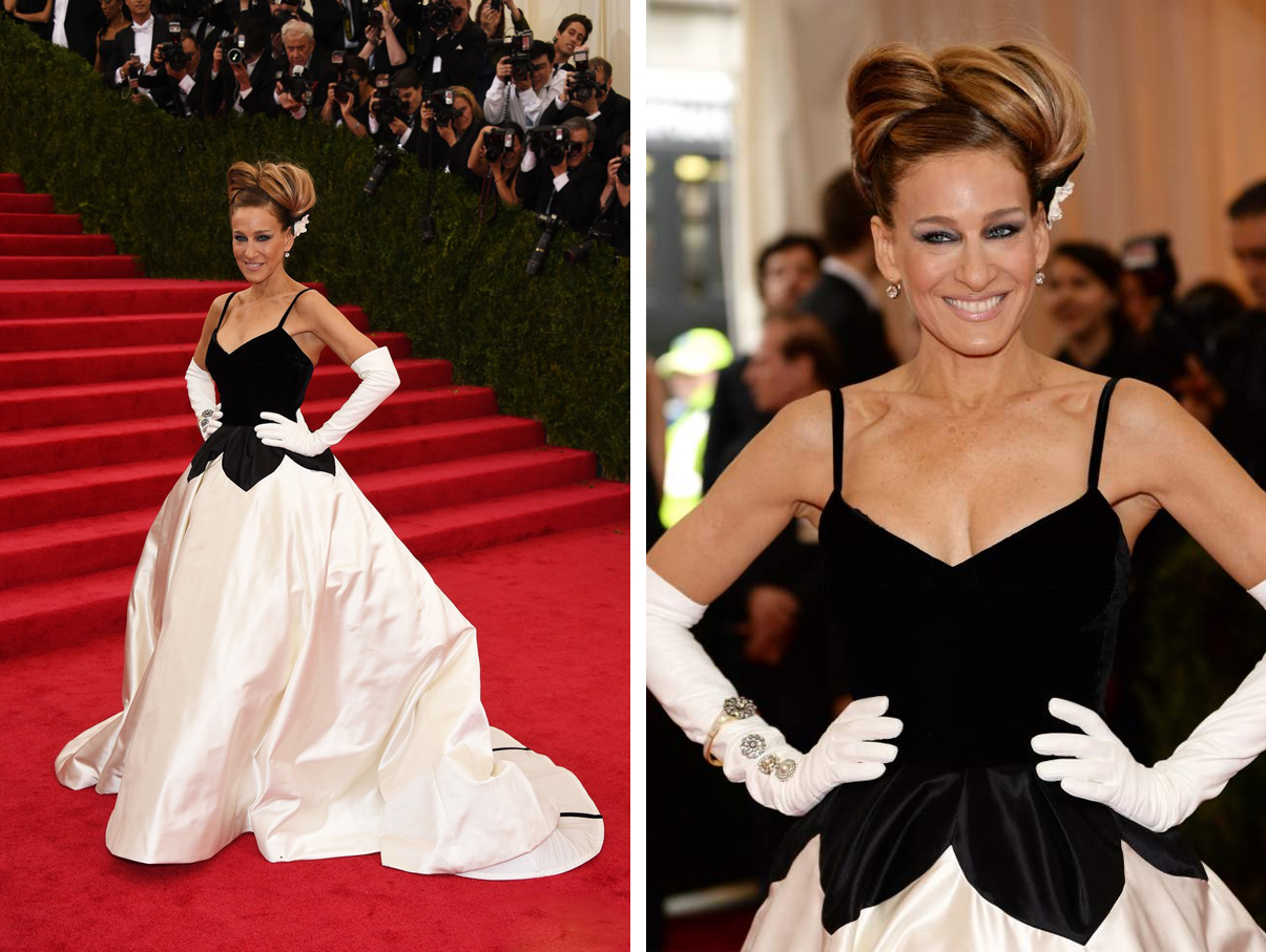 Sarah Jessica Parker in an Oscar de la Renta ivory duchess satin and black velvet gown with exposed crinoline dress. Diamond drop earrings, approx. 4 carats each, by Fred Leighton, circa 19th century; diamond and white enamel bracelet in gold, circa 19th century and diamond and pearl circular brooches.