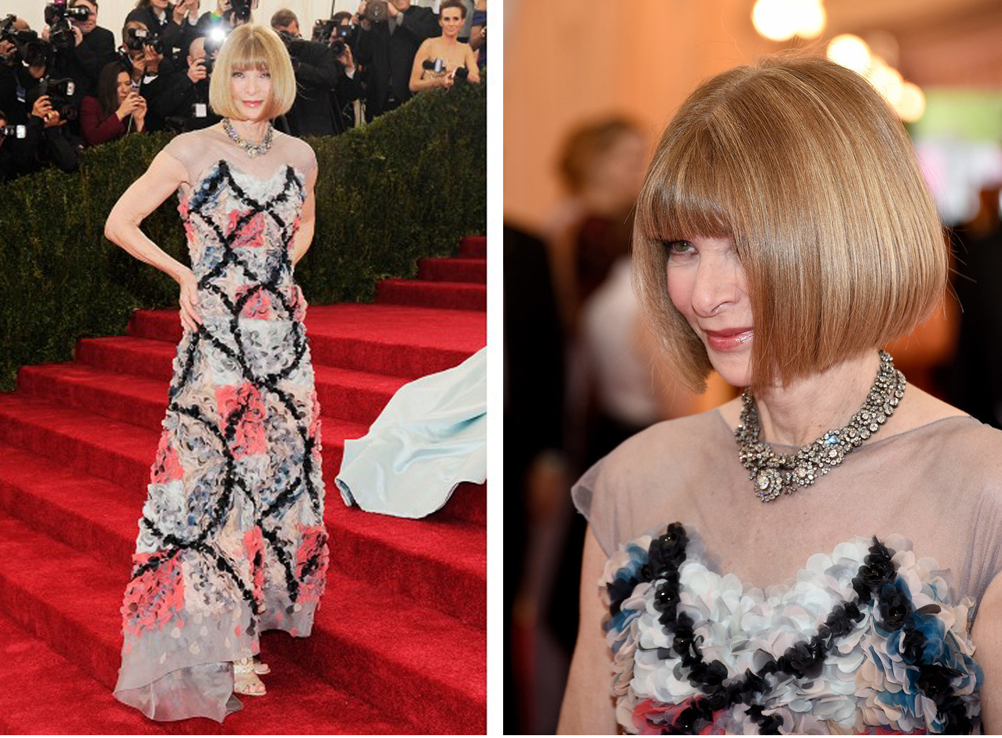 Anna Wintour in a Chanel Couture dress and a diamond floral necklace, circa 19th century.