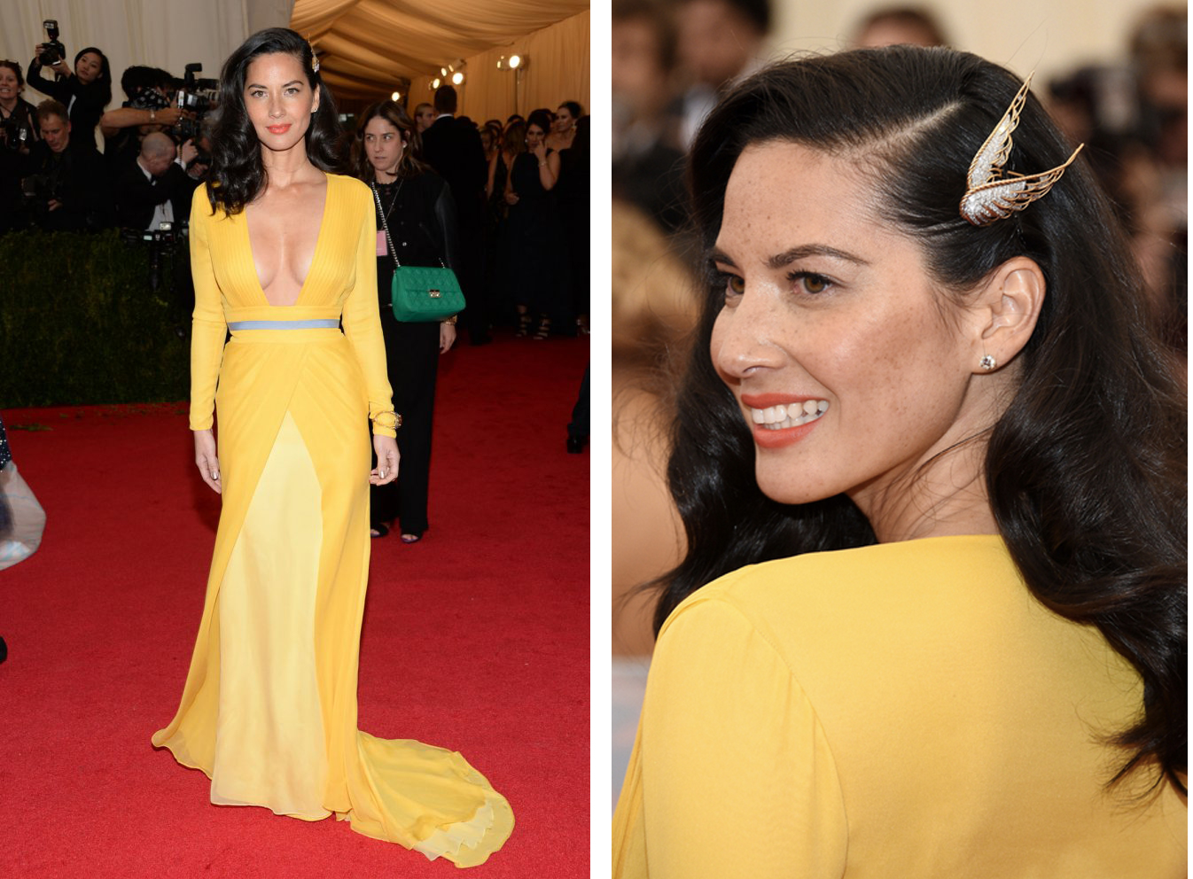 Olivia Munn in a daffodil yellow dress by Diane Von Furstenberg. Diamond and gold wing brooch worn in hair, by Fred Leighton, circa 1940s; round brilliant diamond studs in yellow gold, approximately 3 carats each; by Fred Leighton; citrine and sapphire bracelet in gold, by Fred Leighton, circa 1940s and sapphire and diamond fan ring in gold, by Fred Leighton, circa 1940s.