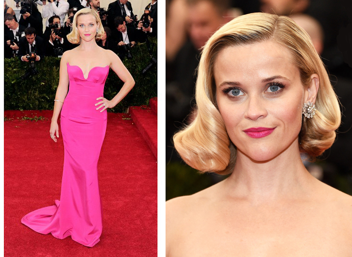 Reese Witherspoon in a Stella McCartney hot pink strapless gown. Diamond floral cluster earrings in platinum, by Fred Leighton, circa 1950s; a diamond arm bangle, circa 19th century and an old mine diamond cluster ring.