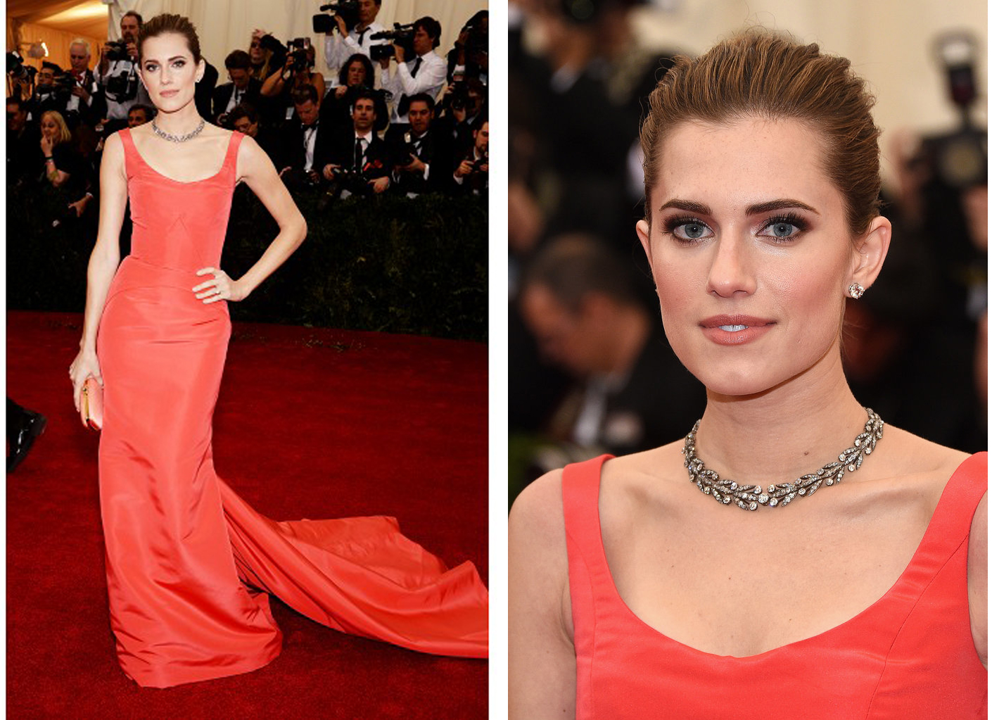 Allison Williams in an Oscar de la Renta coral silk faille gown and coral silk Goa clutch. A diamond laurel leaf necklace, by Fred Leighton, circa 19th century; round brilliant diamond studs, approx. 4 carats each; and a pair of diamond flower brooches worn in the hair, circa 19th century.