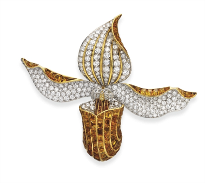 A Diamond and Citrine Orchid Brooch, by René Boivin.