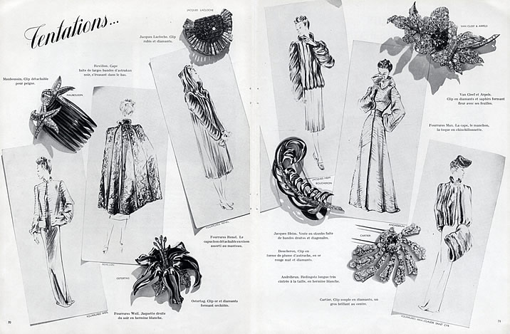 A magazine page from 1938, showing clips from the various jewellery houses. Ostertag, Cartier, Boucheron, Mauboussin, Van Cleef & Arpels, and LaCloche.