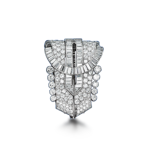 An Art Deco Diamond Double Clip Brooch, by Ostertag, 1930s (Available at Revival Jewels).