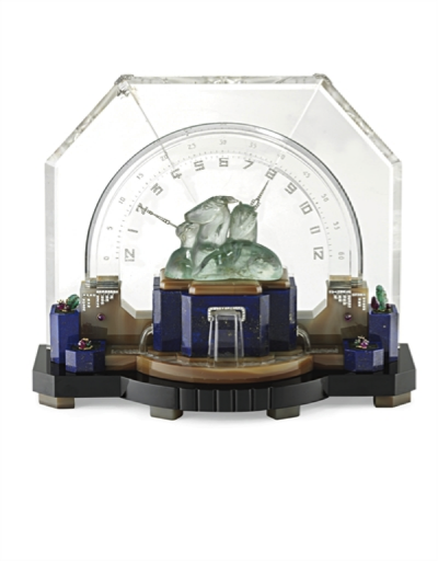 "An Art Deco Multi-Gem and Diamond ""Gazelle"" Desk Clock, by Ostertag, circa 1929."