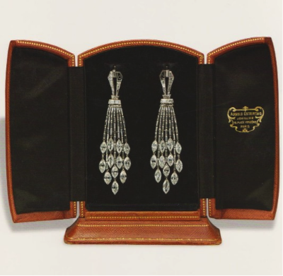An Exquisite Pair of Art Deco Diamond Ear Pendants, by Ostertag, circa 1930.