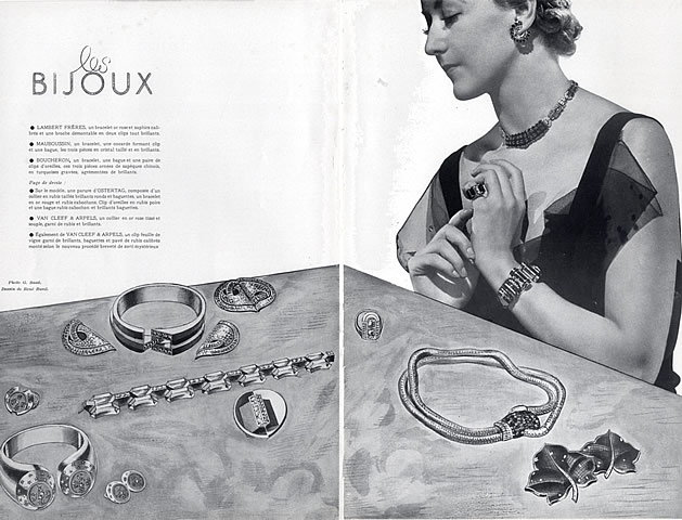 A 1936 magazine spread of jewels from Ostertag, Van Cleef & Arpels, Mauboussin, Lambert and Boucheron.