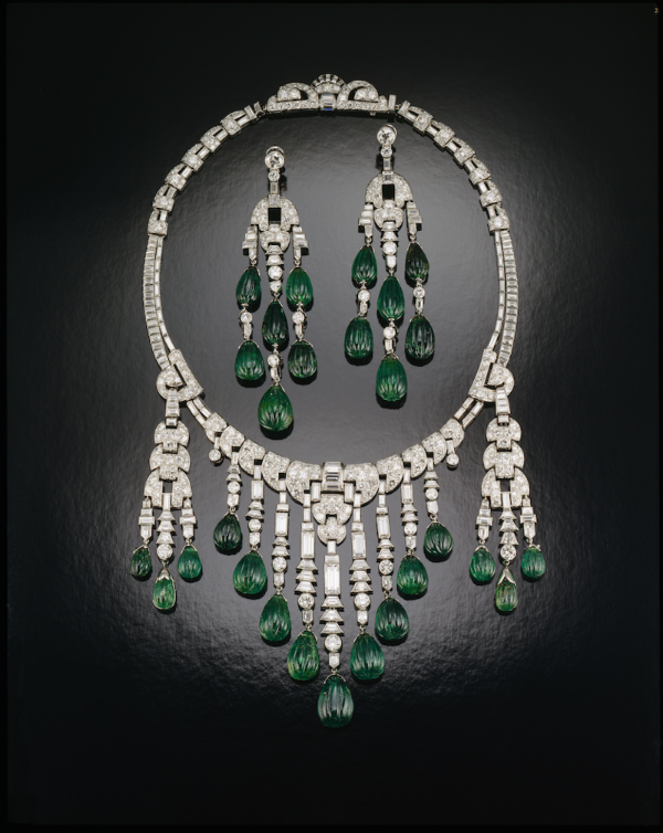 Emerald and Diamond Necklace, by Ostertag, circa 1930. Set with carved emeralds and diamonds in platinum.