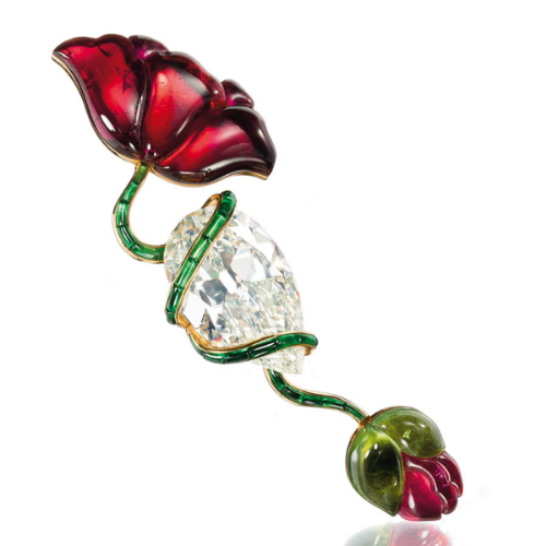 A Diamond, Pink and Green Tourmaline Poppy Flower Brooch, by JAR, 1982, (Formerly from the Lily Safra Collection).
