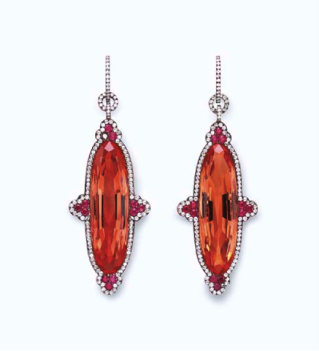 A Pair of Topaz, Ruby and Diamond Ear Pendants, by JAR.