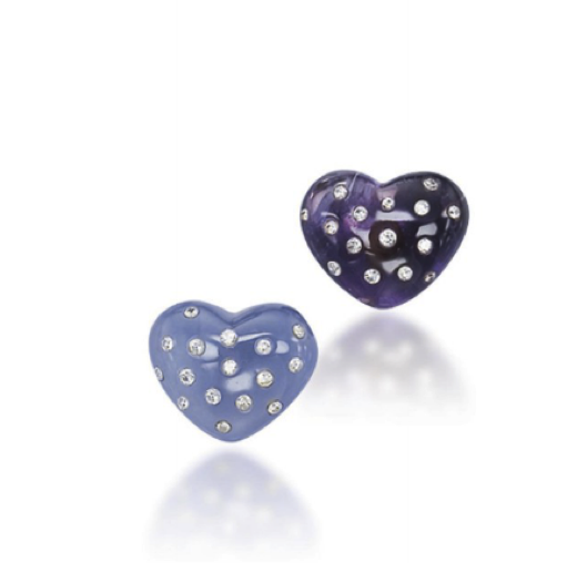 A Pair of Amethyst, Chalcedony and Diamond Earrings, by JAR.