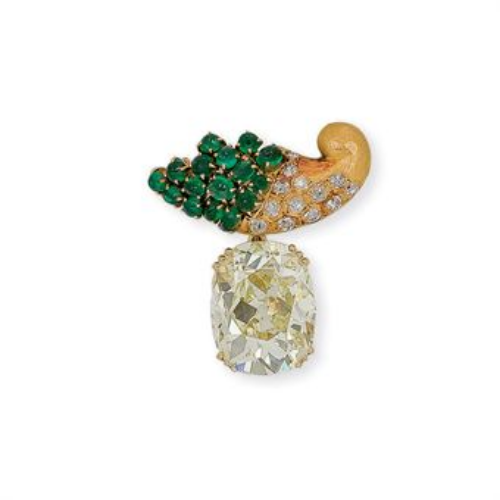 An Emerald and Diamond Brooch, by Suzanne Belperron, circa 1950.