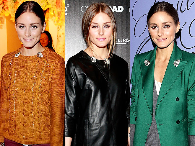 Above: Olivia Palermo styles her double clip brooches seamlessly with modern, casual outfits.