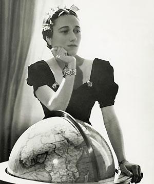 Wallis Simpson wearing dress clips on a square neckline.