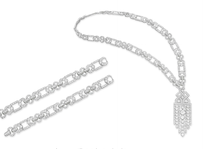 Photo from www.christies.com   An Art Deco Diamond Convertible Sautoir uspending a detachable old European and circular-cut diamond openwork tassel pendant of geometric motif, to the old European and circular-cut diamond open link neck chain, mounted in platinum, circa 1920, pendant may be worn as a brooch (with a platinum brooch fitting of later manufacture), neck chain may be worn as two bracelets or as a necklace of three different lengths, with French assay marks, in a brown leather fitted case.