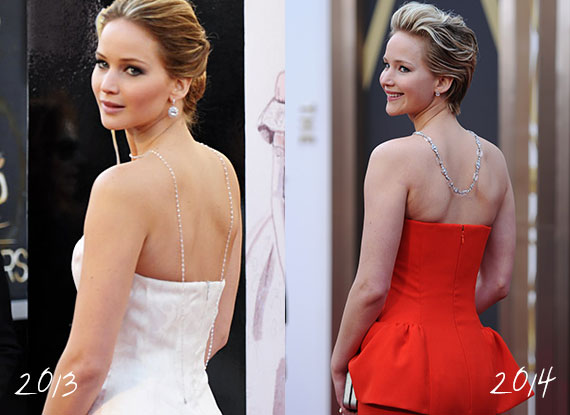 Taking style references from the 20s and 30s, Jennifer Lawrence had diamonds dripping down her back for both the 2013 and 2014 Academy Awards.