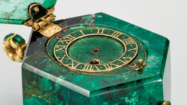 An emerald watch, with the large hexagonal crystal cut out and fitted with a Swiss watch movement, circa 1600. One of the treasures found amongst a group of 17th century and earlier jewels in London, known as The Cheapside Hoard. Image courtesy of gia.edu.