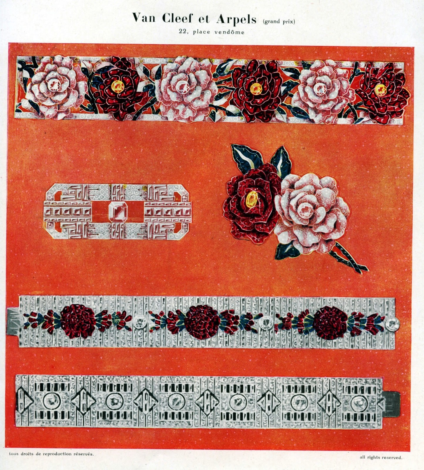 """The """"Roses"""" bracelet, which worn the grand price at the """"Exposition Internationale des Arts Décoratifs et Industriels Modernes"""" in Paris, 1925. Manufactured by Frères Rubel in 1924.   Image courtesy of vancleefarpels.com"""