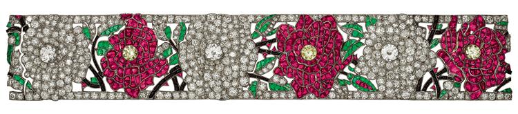 "The ""Roses"" bracelet, composed of 463 round brilliants, 293 rubies, and 108 emeralds mounted on platinum.   Image courtesy of https://unvraipetitbijou.files.wordpress.com"