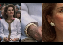 Jackie O wearing a Tiffany & Co. Schlumberger white enamel and yellow gold bangle and earrings.