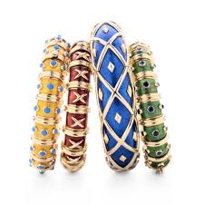 Enamel and gold bangles.