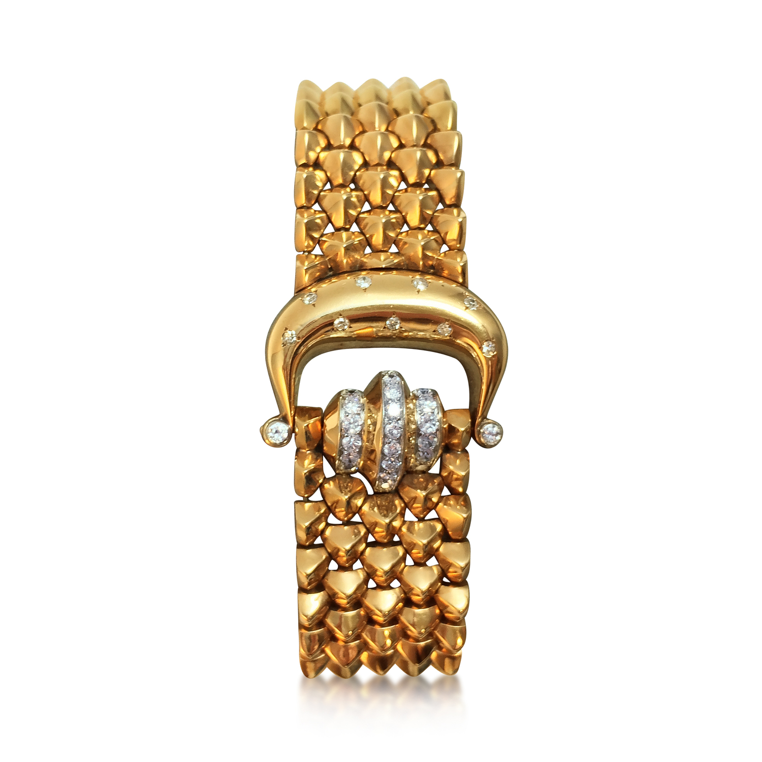 An 18k Retro Yellow Gold and Diamond Bracelet, By Mauboussin, Circa 1950   This effortlessly chic bracelet features highly flexible links of pyramid design and a diamond-set buckle motif with a deployant clasp. It bears French hallmarks, is signed Mauboussin, and measures 16.5cm long.