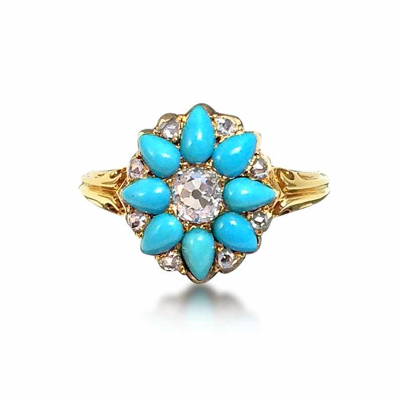 An antique turquoise and diamond ring set with an Old Mine Cut centre diamond, surrounded by Rose Cut diamonds, available at Revival Jewels