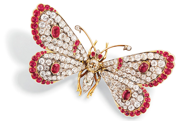 A late-Victorian diamond and ruby butterfly brooch, with en tremblant wings that flutter with movement. It was estimated to sell for between £6,000-£8,000 (USD15,710) at a Christie's London auction in 2014, but managed to snare £10,000.