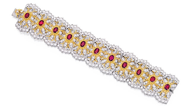 An 18-karat two-colour gold, ruby and diamond bracelet by Buccellati. Sold for USD125,000 at Sotheby's New York auction in 2015, over its USD80,000–100,000 estimate.