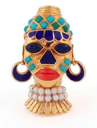 Revival Jewels' Style Suggestion:    A gem-set African mask brooch by Boucheron, circa 1949.    Whimsical and colourful.