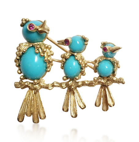 Revival Jewels' Style Suggestion: A turquoise, ruby and yellow gold bird brooch by Van Cleef & Arpels, circa 1960, which is whimsical, adorable and full of personality.    Click here    for details.