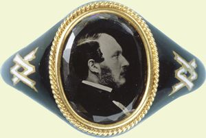 Queen Victoria's mourning ring in remembrance of her husband Albert, circa 1861.