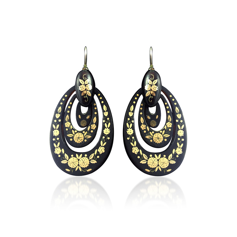 "A pair of Victorian ""piqué"" tortoiseshell and gold earrings from the late 19th century, available at Revival Jewels."