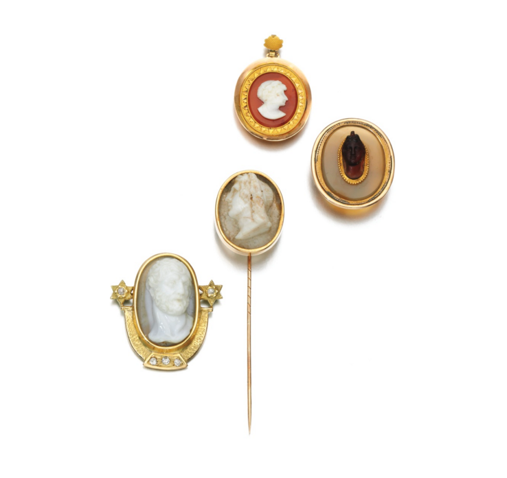 A collection of hardstone cameos, circa 1880, up for a recent auction at Sotheby's.