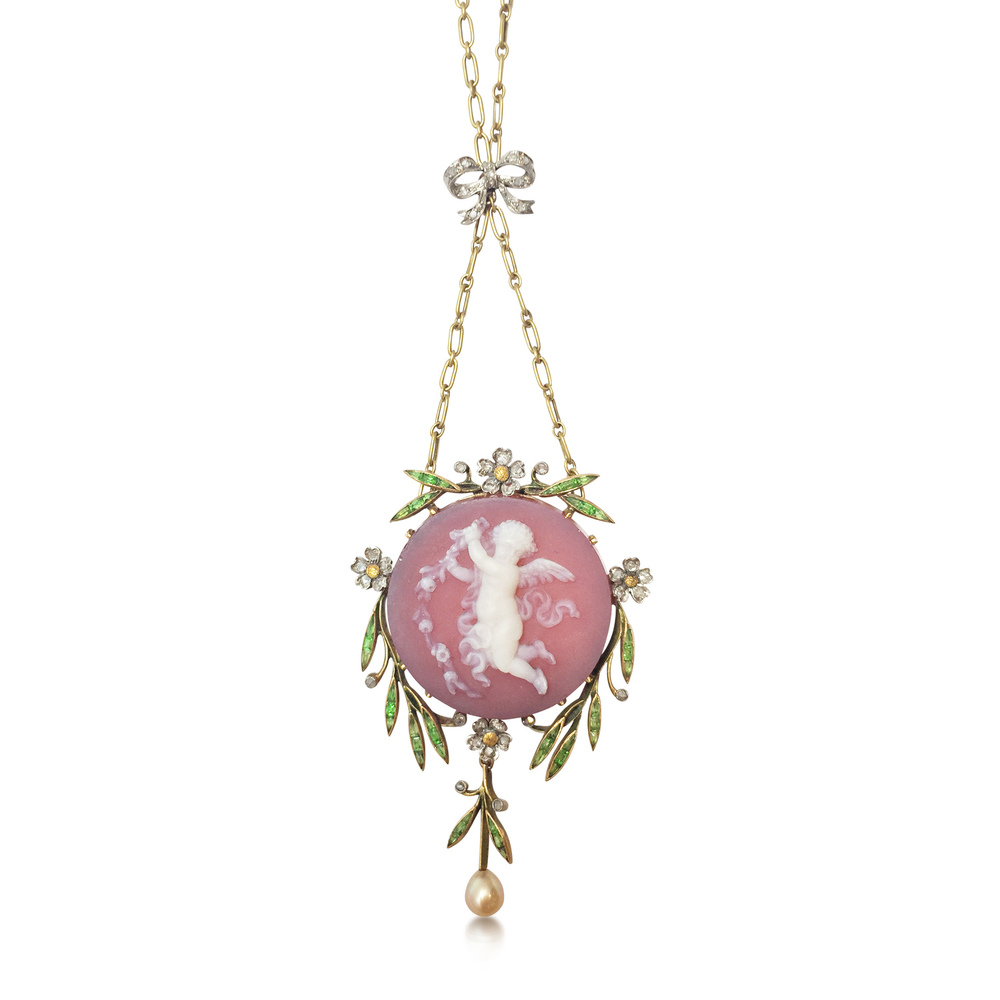A Belle Epoque cherub cameo necklace, circa 1910, available at Revival Jewels.