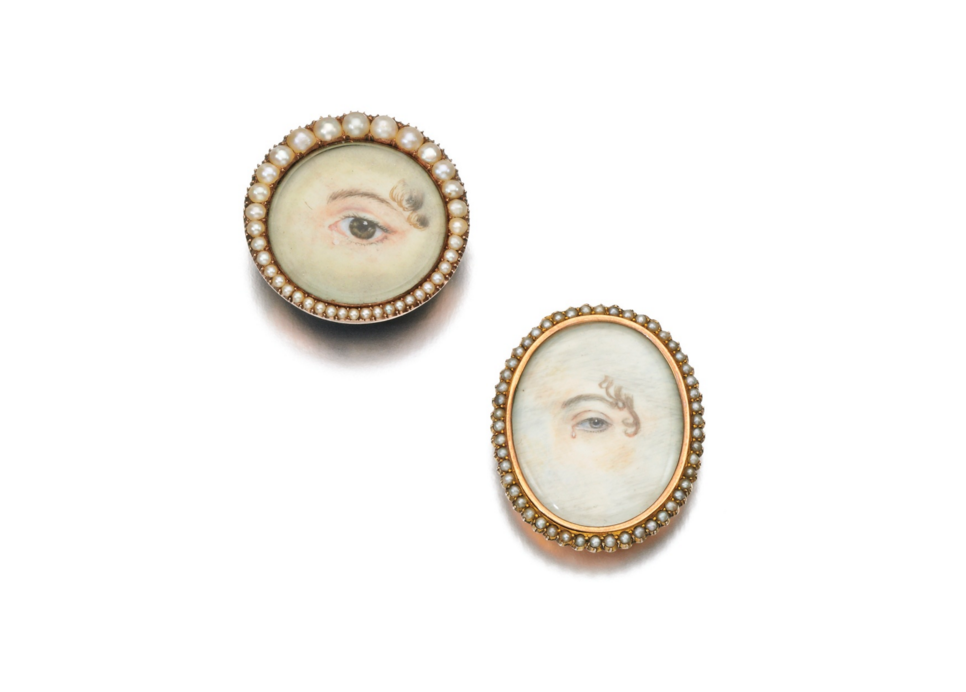A pair of Lover's Eye brooches, circa early 1800s, up for up for a recent auction at Sotheby's.