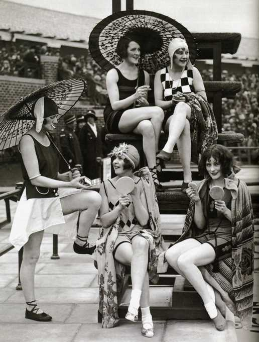Women in bathing suits, smoking, circa 1920s Photo courtesy of sanceau.com