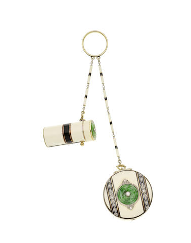 An Enamel, Jade and Diamond Lipstick and Compact, circa 1925    The black and cream enamel lipstick and circular compact, the lids decorated with carved jade flowerheads and millegrain-set old brilliant-cut diamonds, each suspended from a black and cream enamel baton-link chain, to a black enamel suspension ring.    Photo courtesy of Bonhams.