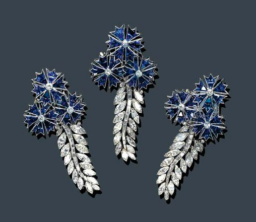 A Trip of Diamond and Sapphire Brooches, circa 1938. Configurable into a bracelet.