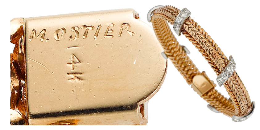 Signature of Marianne Ostier (M. Ostier) stamped on a bracelet. Sometimes, they are also marked MO.