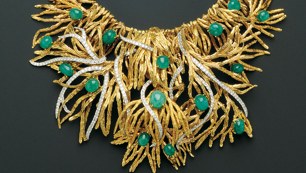 """An 18K Gold, Platinum, Emerald and Diamond """"Voodoo"""" Necklace, by Marianne Ostier"""
