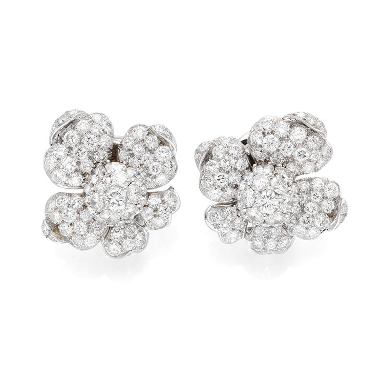 A Pair of Diamond Earclips, by Marianne Ostier (Available at www.revivaljewels.com)