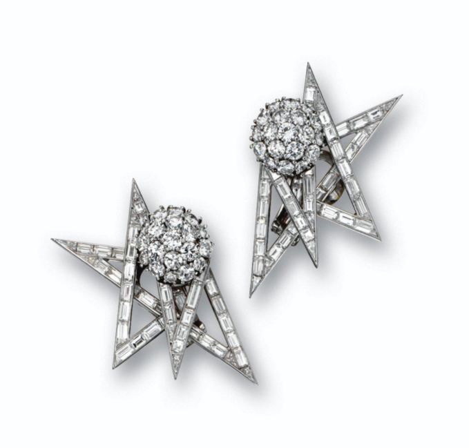 A Pair of Diamond and Cultured Pearl Earclips with Interchangeable Centers, by Marianne Ostier, circa 1950