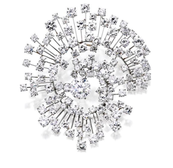 "Platinum and Diamond ""Galaxy Brooch"", by Marianne Ostier, circa 1955"