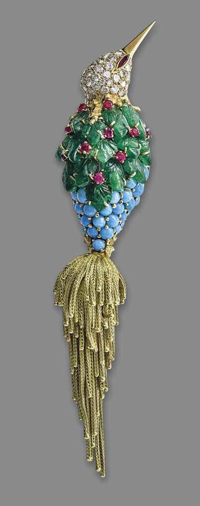 A Multi-Gem Diamond and Gold Bird Brooch, by Sterlé    Price Realised USD $40,291 (estimate 20,225 - 30,338) Christie's 15th November, 2016, Geneva.