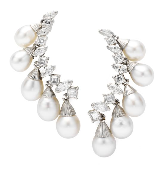 A Pair of Diamond and Pearl Ear Clips, by Sterlé