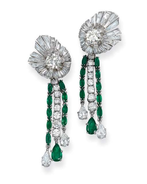 A Pair of Emerald and Diamond Ear Pendants, by Pierre Sterlé